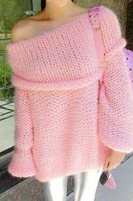Sexy off-the-shoulder lantern sleeve sweater