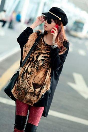 Punk Style Tiger Print Dolman Sleeve Loose T Shirts