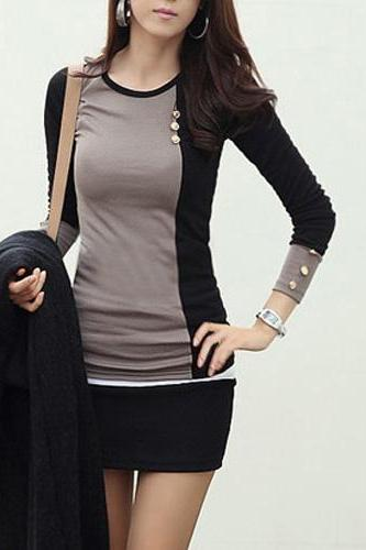 Two Tone Design Long Sleeve Skinny T Shirts for Work
