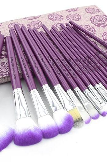Cute Floral 18PCS Professional Makeup Brushes Set In High Quality Leather Case - Purple