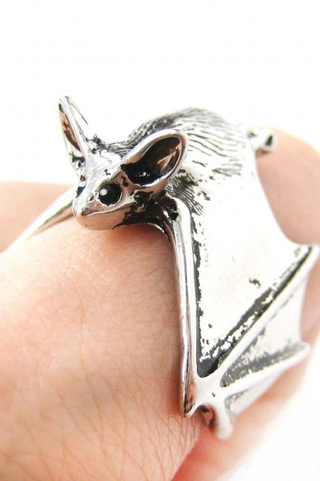 3D Bat Animal Wrap Around Hug Ring in SHINY Silver - Sizes 5 to 10 Available