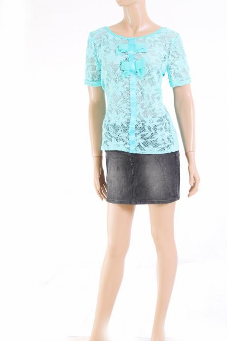 Lace/ romantic/ mint/ elegant /l blouse /top