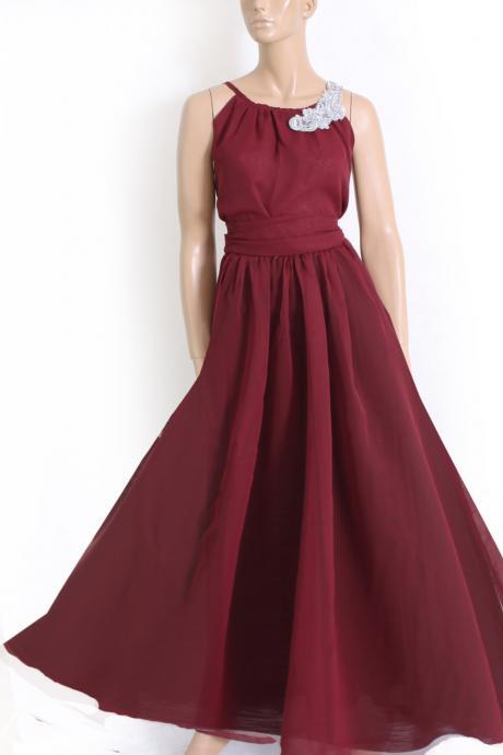 Maxi dark red / chiffon bridesmaid / evening / party / dress