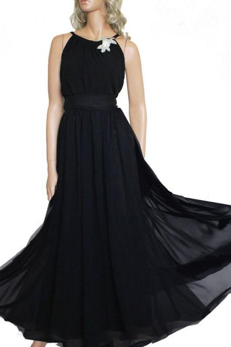 Plus Size Maxi Black / chiffon bridesmaid / evening / party / dress
