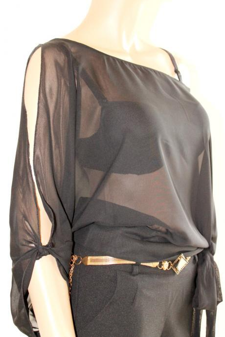 Plus Size Black Sexy Chiffon/cocktail /party/ top/ blouse