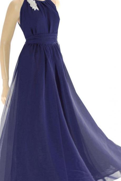 Plus Size Maxi Navy Blue / chiffon bridesmaid / evening / party / dress