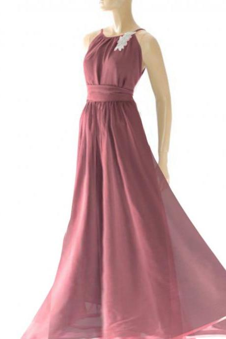 Plus Size maxi /burgundy/ chiffon bridesmaid / evening / party / dress