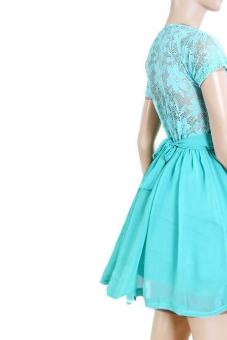 Plus Size Mint/ Lace/Bridesmaid / Wedding Party / Cocktail / Evening / Prom / Graduation dress