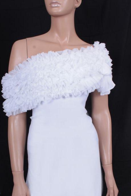 Bridal White fluffy ruffles bolero/ scarf / shrug/ wedding cape