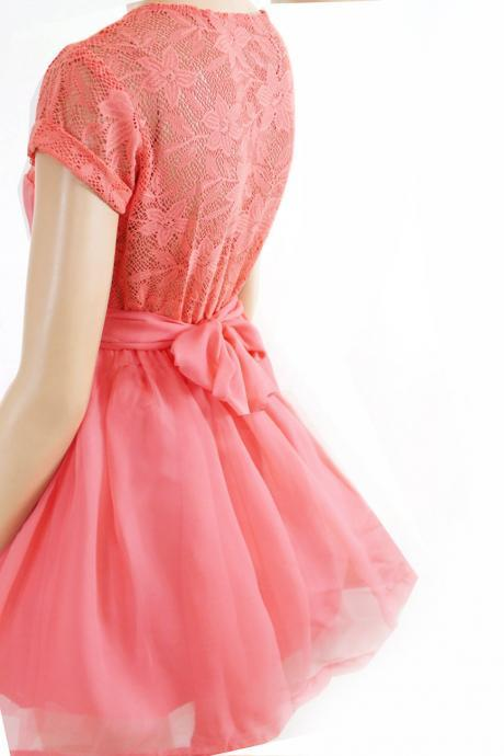 Plus Size Coral Bridesmaid / Wedding Party / Cocktail / Evening/ Graduation lace,chiffon dress