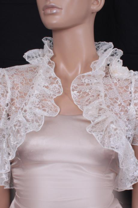 Bridal Cream White Lace fluffy ruffles shrug jacket wedding bolero