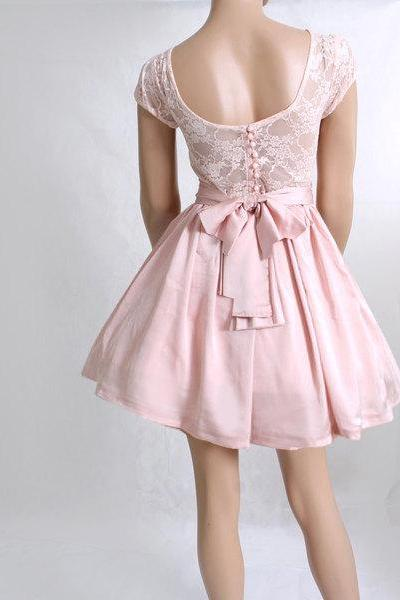 Blush Bridesmaid / Wedding Party / Cocktail / Evening / Prom / Graduation lace,satin dress