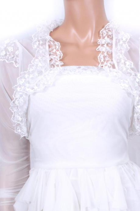 Bridal White Lace shrug jacket wedding bolero
