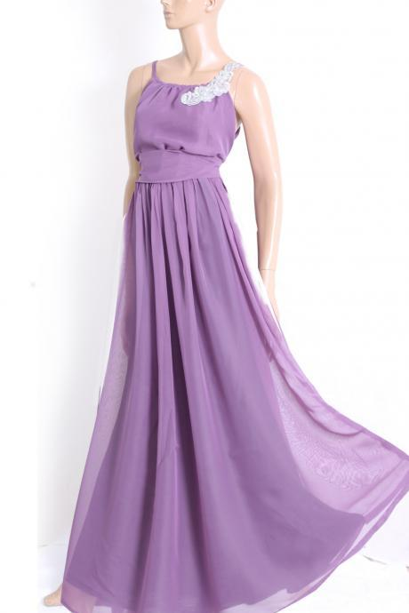 Plus Size Maxi Purple / chiffon bridesmaid / evening / party / dress