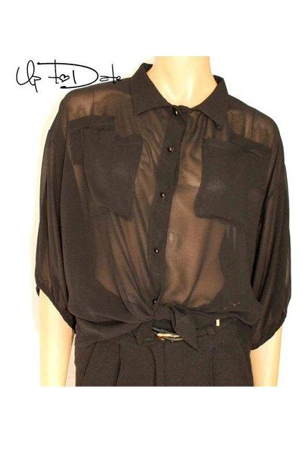 Black / chiffon blouse with buttons
