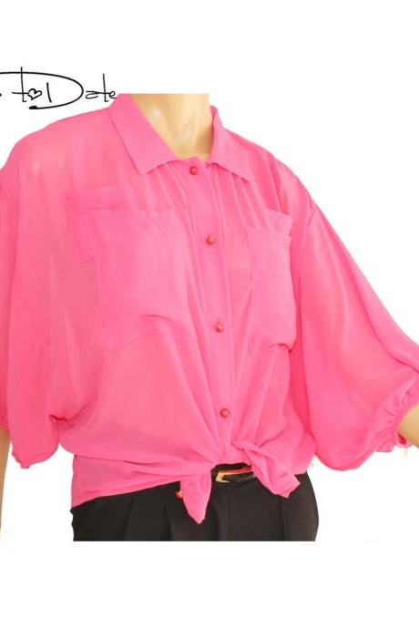 Pink/ chiffon blouse with buttons