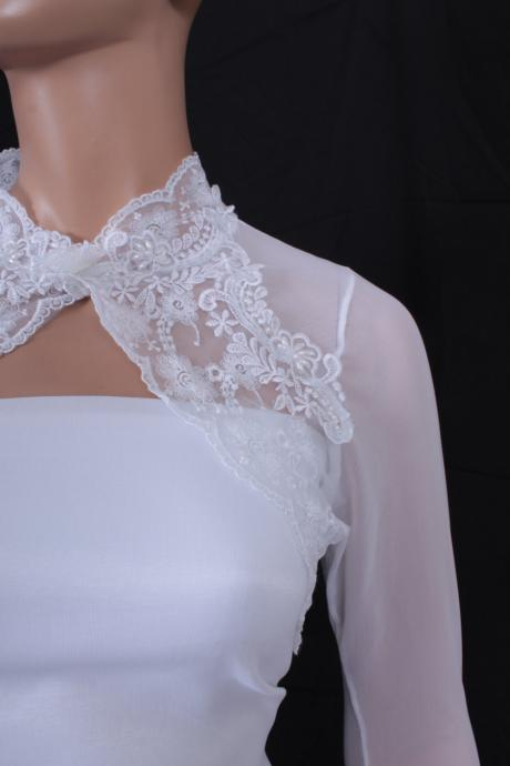 Bridal optical White Lace shrug jacket wedding bolero