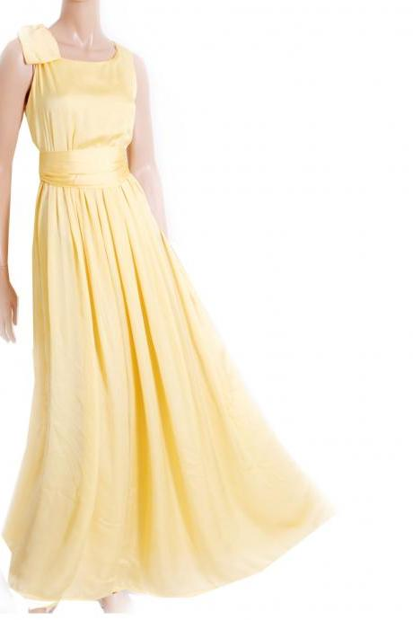 Maxi Yellow Bridesmaid / Wedding Party / Cocktail / Evening / Prom / Formal / satin dress