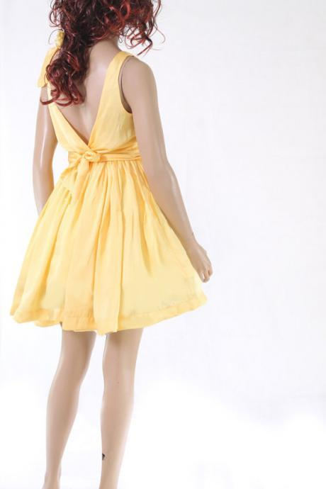Yellow Bridesmaid / Wedding Party / Cocktail / Evening / Prom / Formal / satin dress
