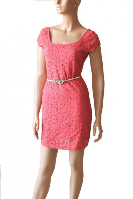 Coral bridesmaid/ cotton lace/ day/ dress