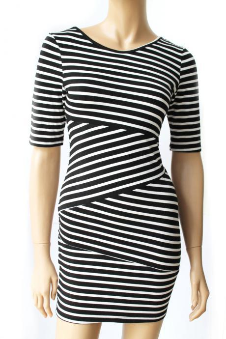 Black and white /cotton/ women's Striped casual /mini dress/ tunic