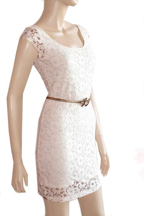 white bridesmaid cotton lace/day/ dress