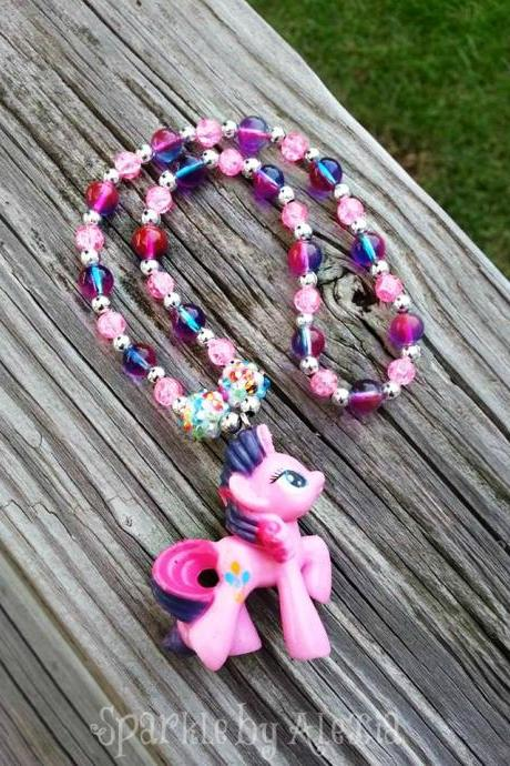Pony Purple & Pink Beaded Necklace