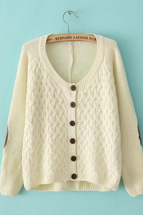 Nice Beige Elbow Patches Irregular knit &Cardigan