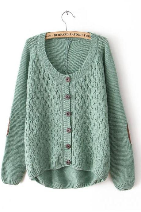 Fresh Green Leather Stitching Irregular knit &Cardigan