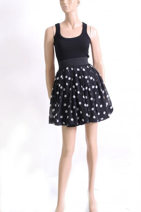 little black polka dots dress/ Romantic / summer dress / sundress