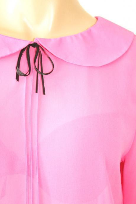 Romantic pink chiffon blouse