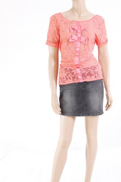 Coral/ Lace/ romantic/ elegant /l blouse/top