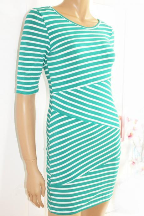 Cotton / women's Striped/ Mint and white/ casual /mini dress/ tunic
