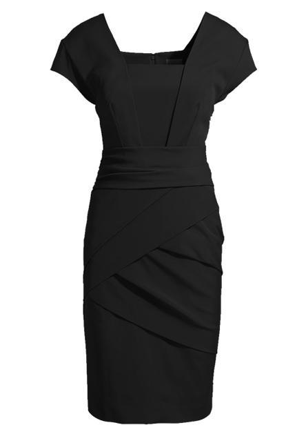 European Style Solid Color Square Neck Sheath Dress - Black