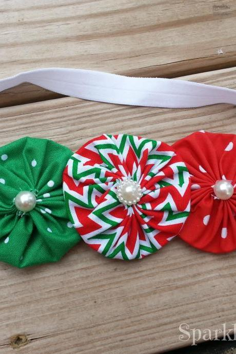 Christmas Fabric Yo-Yo/Rosette Flower Stretch Headband