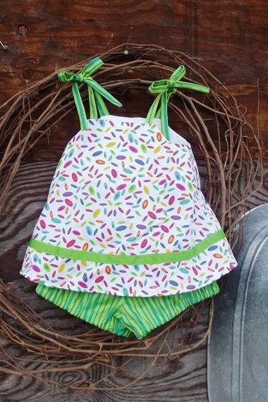 Baby dress and bloomers, size 6 months, tie straps
