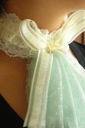 Victorian Collar, adjustable gothic steampunk neo renaissance romantic necktie pastel blue and cream, lace satin and ribbons