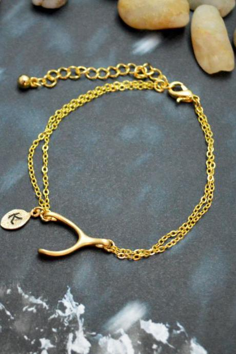 C-031 Wishbone initial bracelet, Personalized bracelet, Simple bracelet, Gold plated/Everyday jewelry/