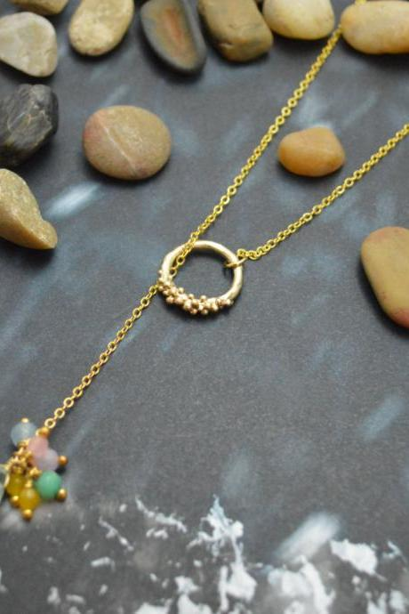 A-100 Dangle drop ring necklace, Gemstone necklace, Simple necklace, Modern necklace, Gold plated chain/Bridesmaid/gifts/Everyday jewelry/