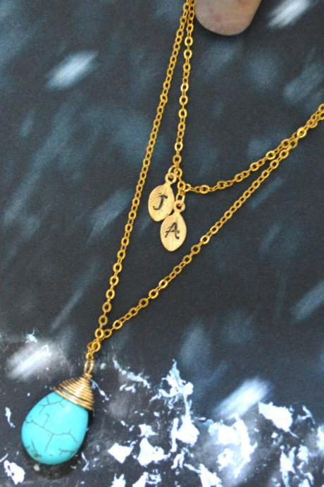 A-019 Hand stamped personalized initial leaf with turquoise drop, Double strand, Layered necklace, Gold plated/Everyday jewelry/