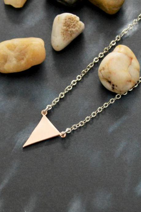 A-093 Triangle necklace, Simple necklace, Modern necklace, Geometric, Rhodium rose gold plated/Bridesmaid/gifts/Everyday jewelry/