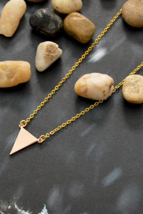 A-092 Triangle necklace, Simple necklace, Modern necklace, Geometric necklace, Rose gold plated/Bridesmaid/gifts/Everyday jewelry/