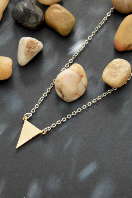 A-091 Triangle necklace, Simple necklace, Modern necklace,Geometric necklace, Gold silver plated/Bridesmaid/gifts/Everyday jewelry/