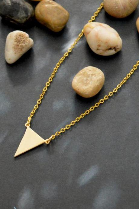 A-090 Triangle necklace, Simple necklace, Modern necklace, Geometric necklace, Gold plated/Bridesmaid/gifts/Everyday jewelry/