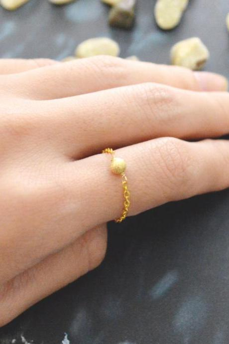 E-019 Metal bead ring, Beads ring, Chain ring, Simple ring, Modern ring, Gold plated ring/Everyday/Gift/