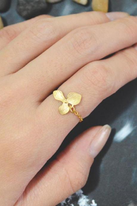 E-017 Orchid ring, Gold orchid ring, Chain ring, Simple ring,