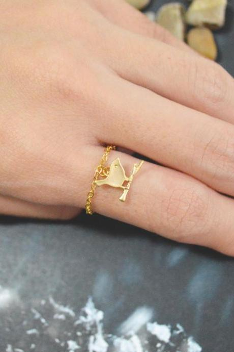 E-016 Bird ring, Gold bird ring, Chain ring, Simple ring, Modern ring, Gold plated ring/Everyday/Gift/