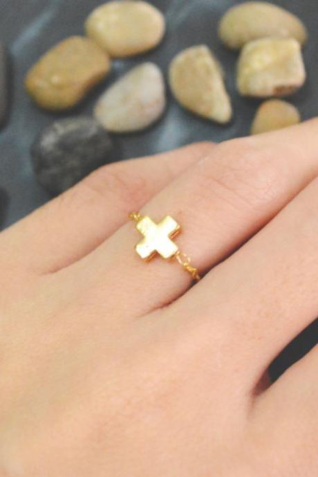 E-015 Cross ring, Gold cross ring, Chain ring, Simple ring, Modern ring, Gold plated ring/Everyday/Gift/