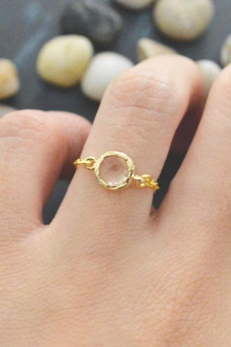 E-012 Champagne Glass ring, Gold Frame ring, Chain ring, Simple ring, Modern ring, Gold plated ring/Everyday/Gift/