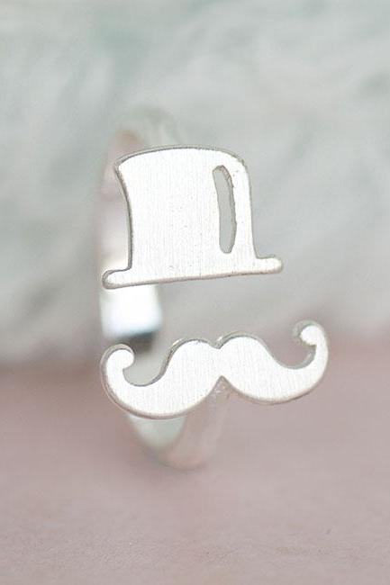 Silver Moustache Hat Ring, Mustache Adjustable Band
